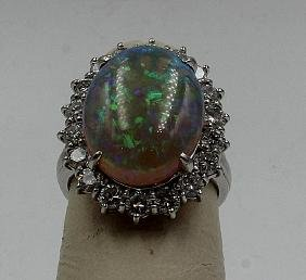 Platinum 2.50ct. Opal & 1.00ct. Diamond Ring