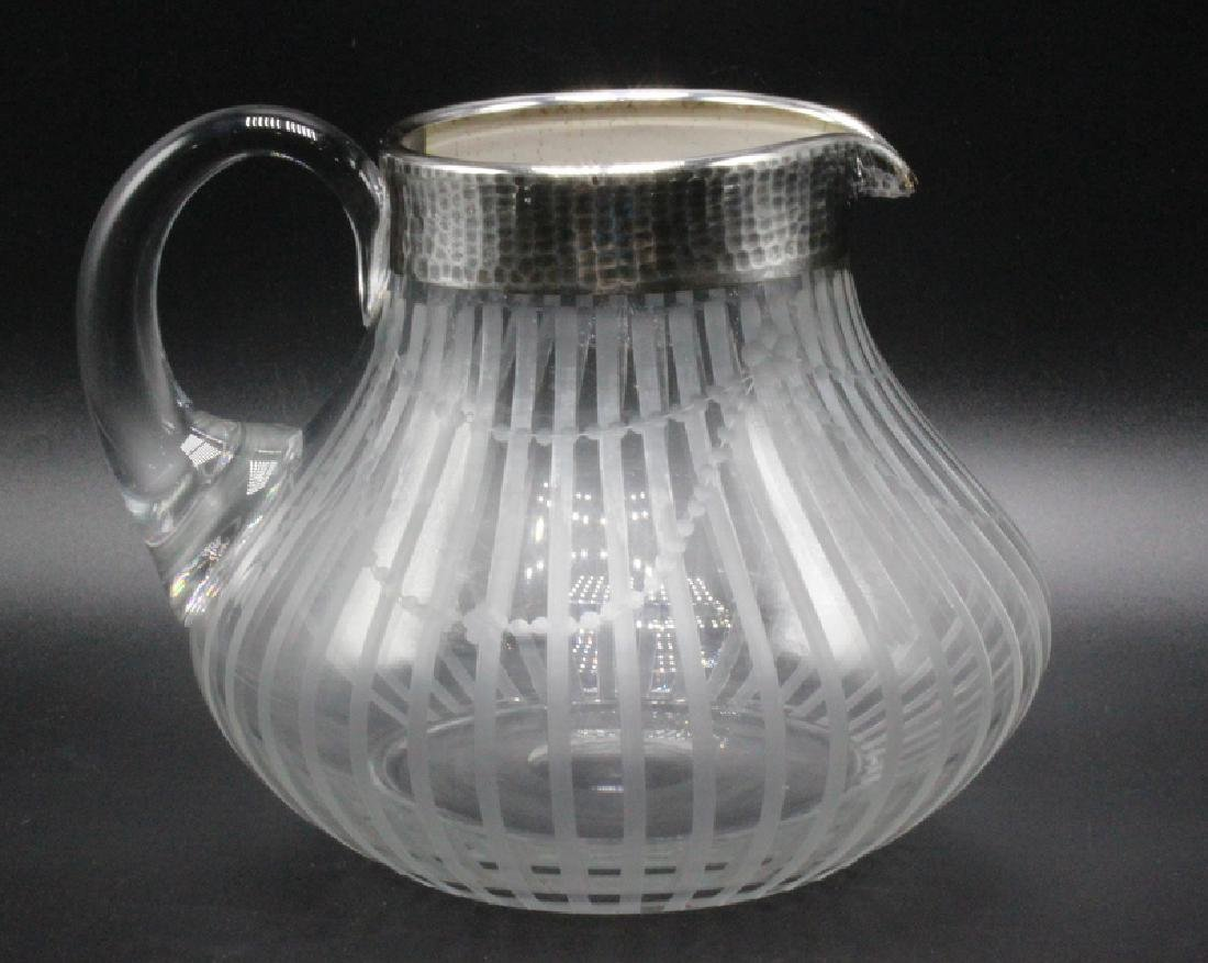 Silver Overlay & Etched Glass Pitcher