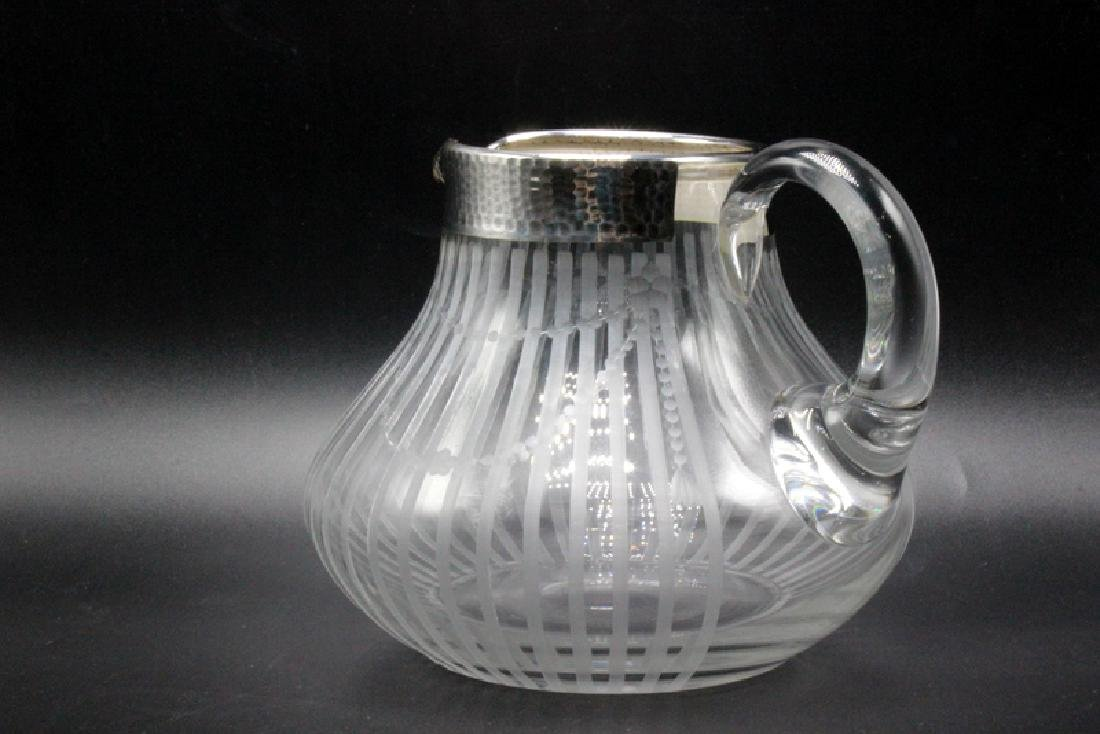 Silver Overlay & Etched Glass Pitcher - 2