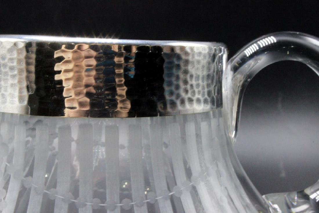 Silver Overlay & Etched Glass Pitcher - 4