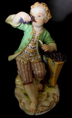 Meissen Porcelain Figure of a Boy with Grapes