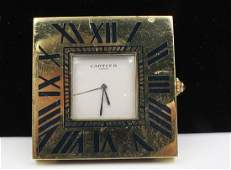 Cartier Paris Metal Desk Clock with Roman Numerals