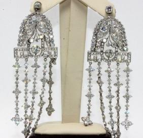 Pair of Platinum 21.50ct. Diamond Art Deco Earrings