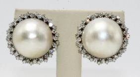 Platinum Mabe Pearl & 1.00ct. Diamond Earrings