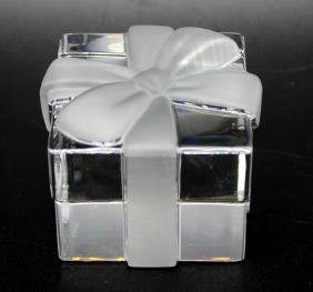 "Tiffany ""Gift Box"" Crystal Paperweight Signed"