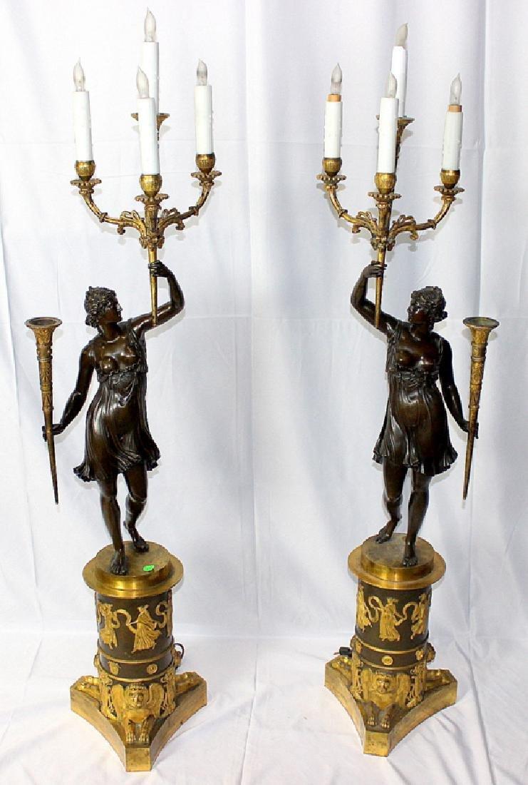Pair Of Antique Empire Bronze Figural Candelarbra C1810