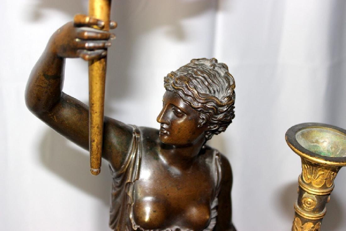 Pair Of Antique Empire Bronze Figural Candelarbra C1810 - 2