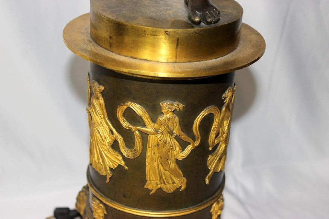 Pair Of Antique Empire Bronze Figural Candelarbra C1810 - 3