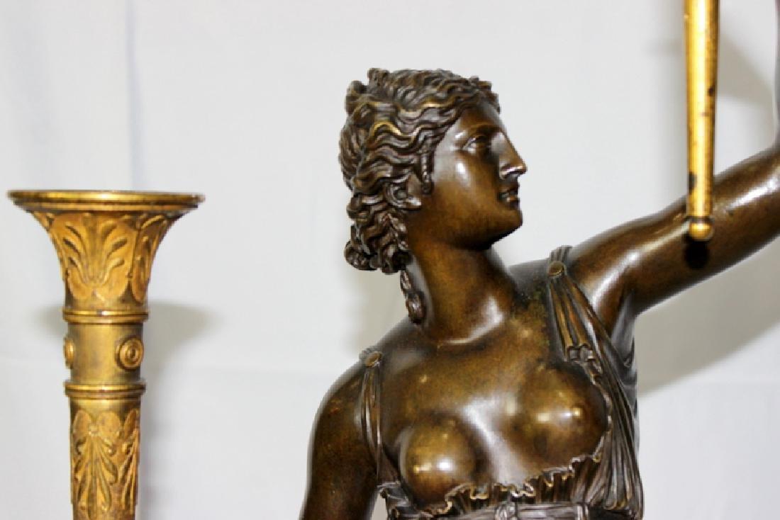 Pair Of Antique Empire Bronze Figural Candelarbra C1810 - 5