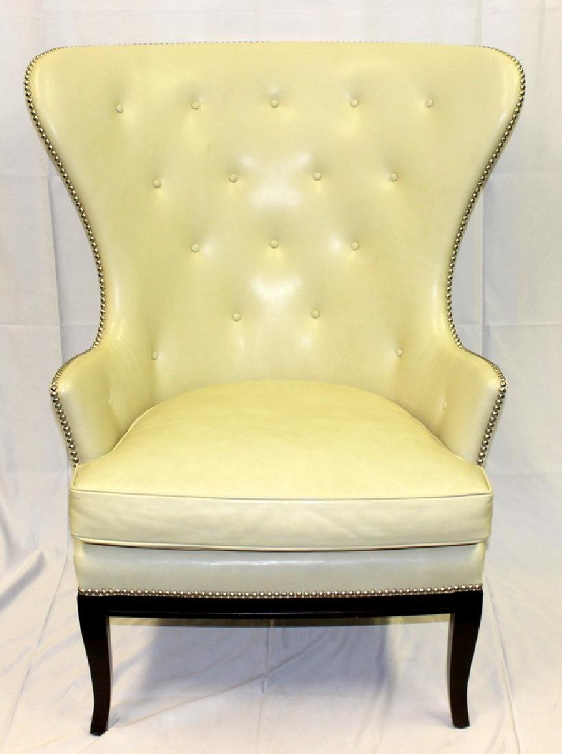 Pair of Leather Wing Back Club Chairs with Studded