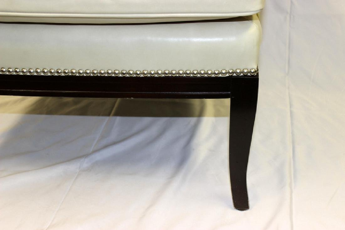 Pair of Leather Wing Back Club Chairs with Studded - 3
