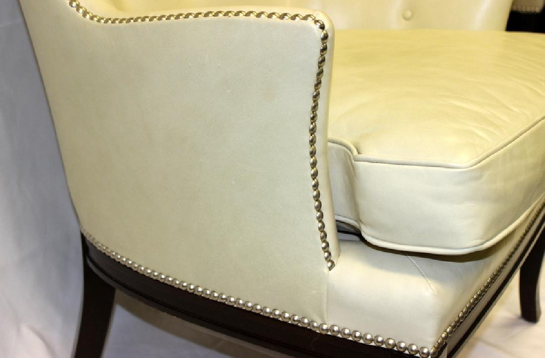 Pair of Leather Wing Back Club Chairs with Studded - 4