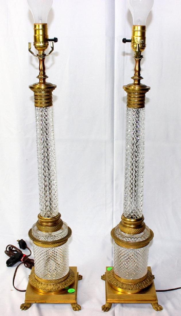 Pair of Antique Empire Style Crystal & Dore Bronze