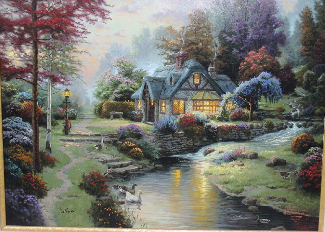 "Thomas Kinkade ""Stillwater Cottage"" Lumigraph on Canvas"