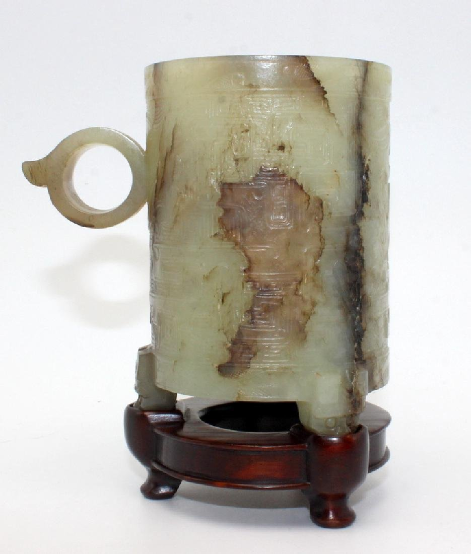 Antique Chinese Jade Cylindrical Cup on Feet