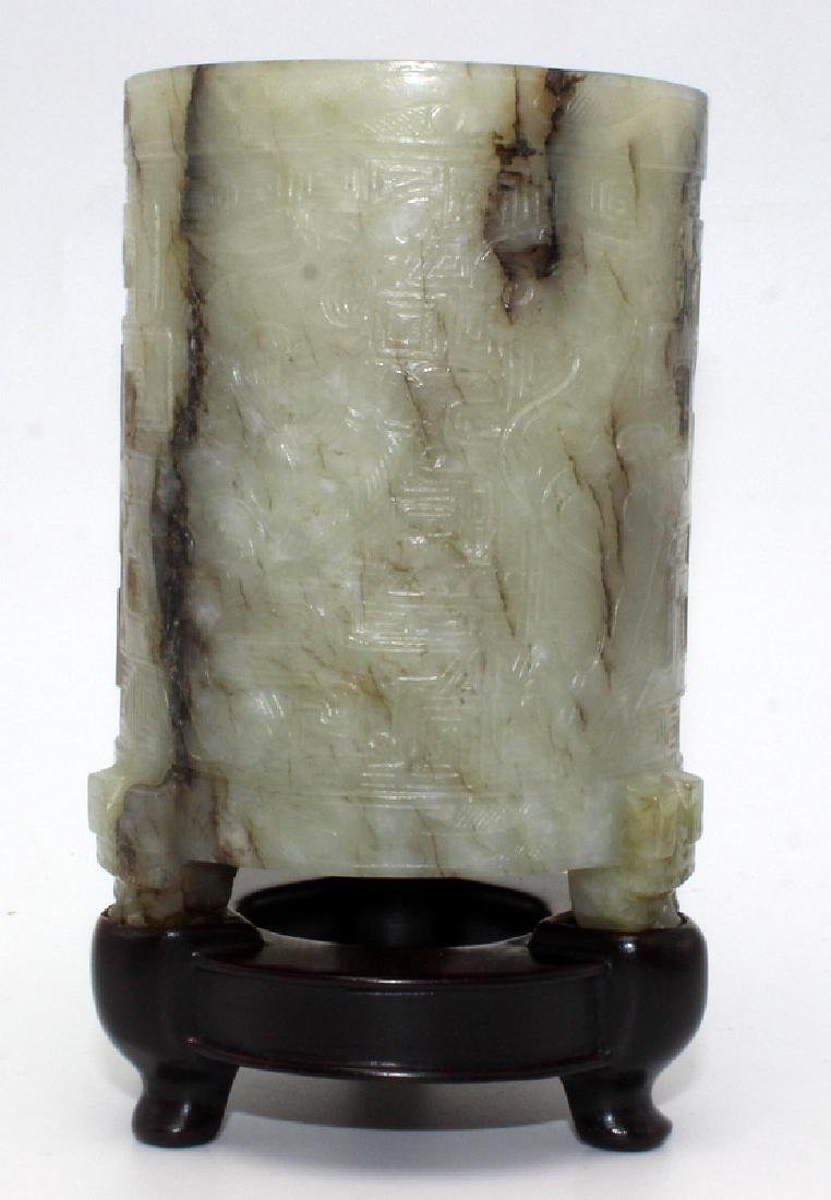 Antique Chinese Jade Cylindrical Cup on Feet - 2