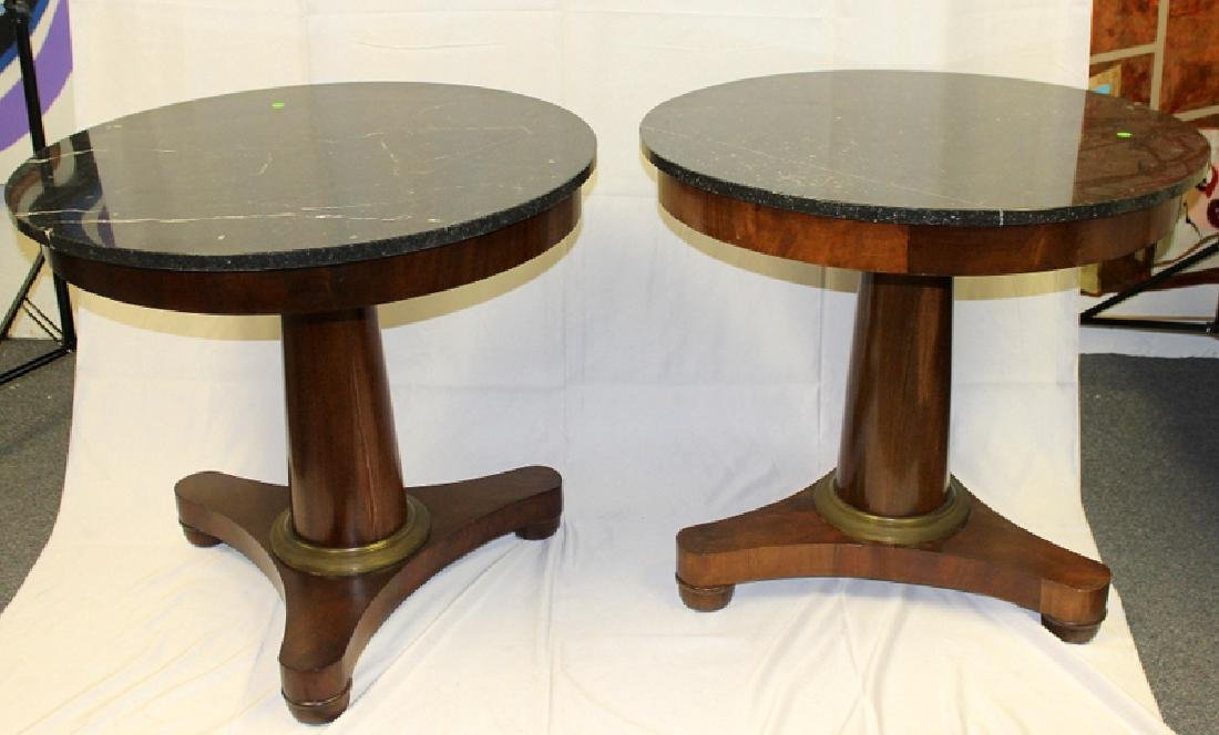 Pair of French Antique Marble Top & Bronze Mounted