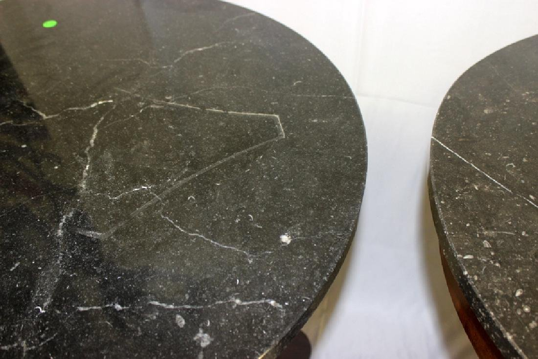 Pair of French Antique Marble Top & Bronze Mounted - 2