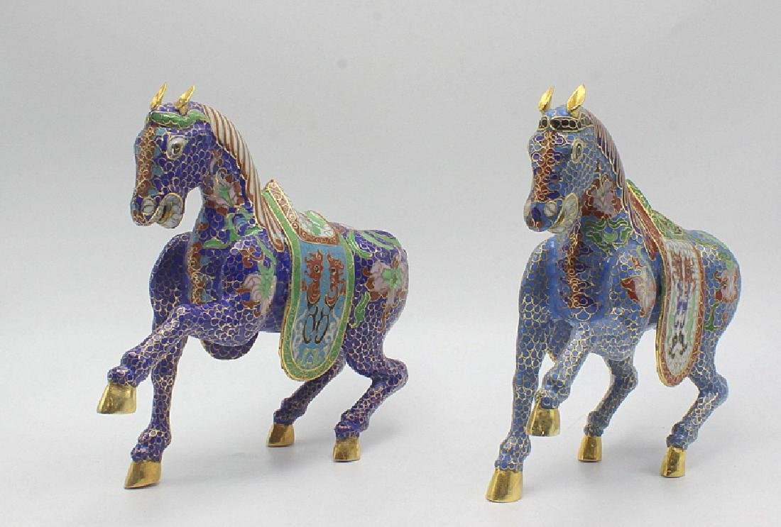 Pair of Chinese Gilt Metal Cloisonné Horses