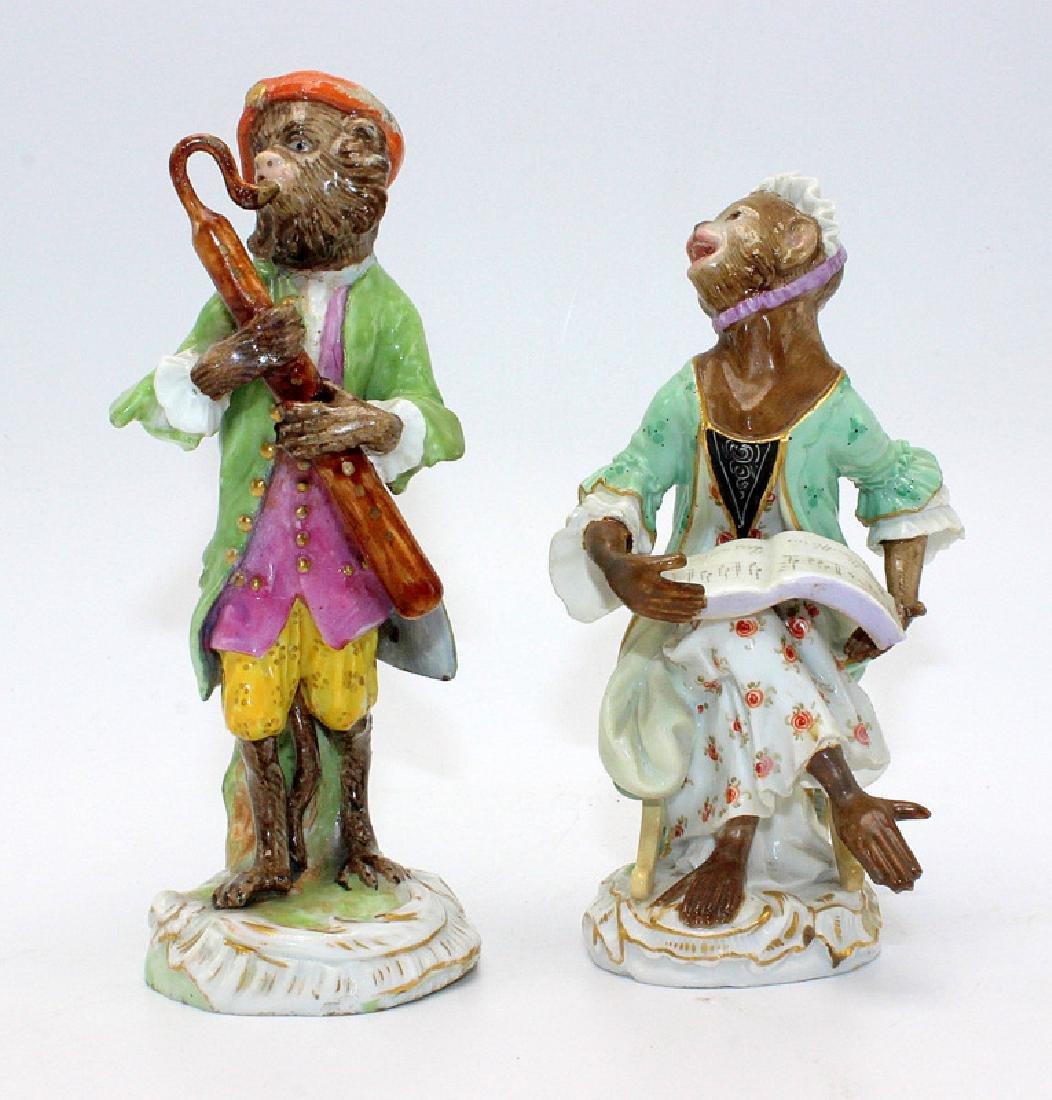 Meissen (2) 19th C. Monkey Band Figures