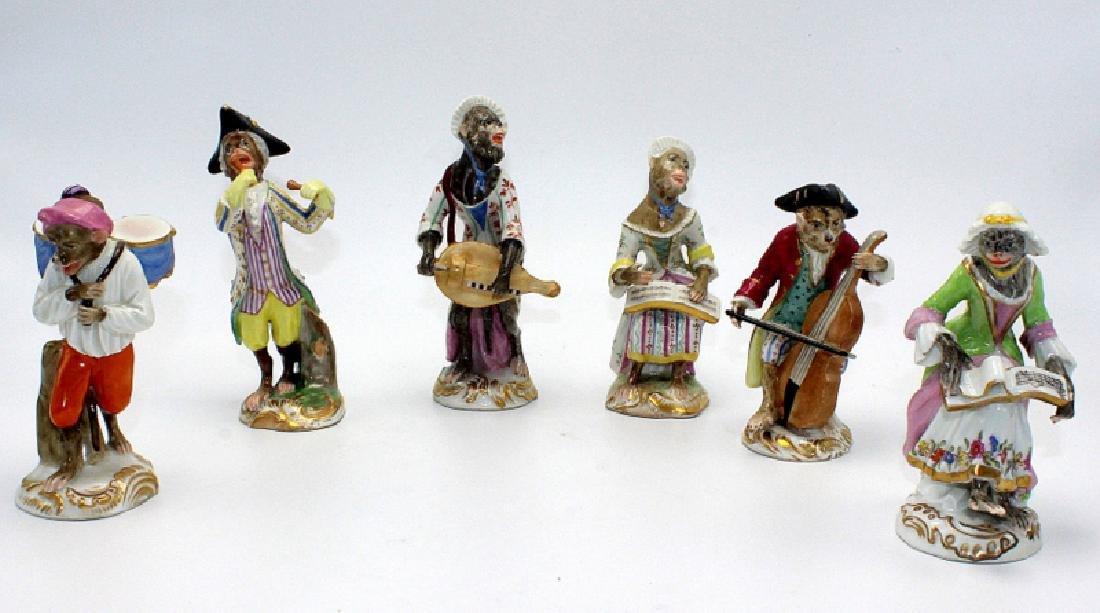 Vienna (6) Monkey Band Figures baring Pseudo Meissen