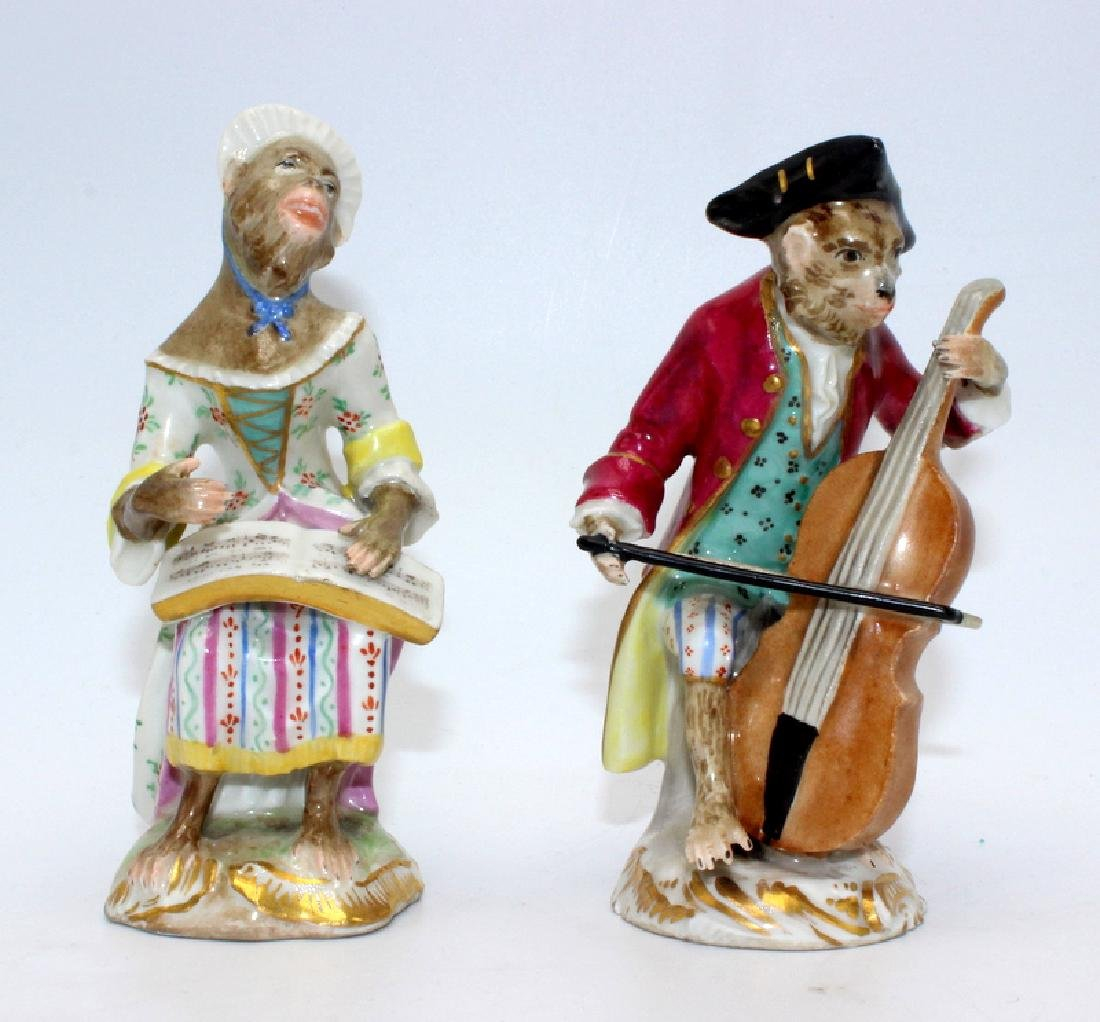 Vienna (6) Monkey Band Figures baring Pseudo Meissen - 3