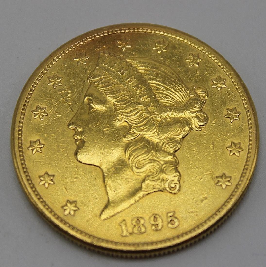 "1895 Liberty Head $20 Gold Coin Mint Mark ""S"""