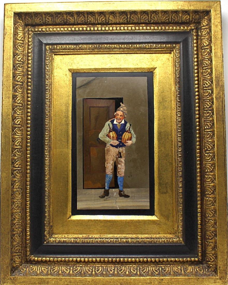 Italian Pietra Dura Panel Depicting a Man Holding Two