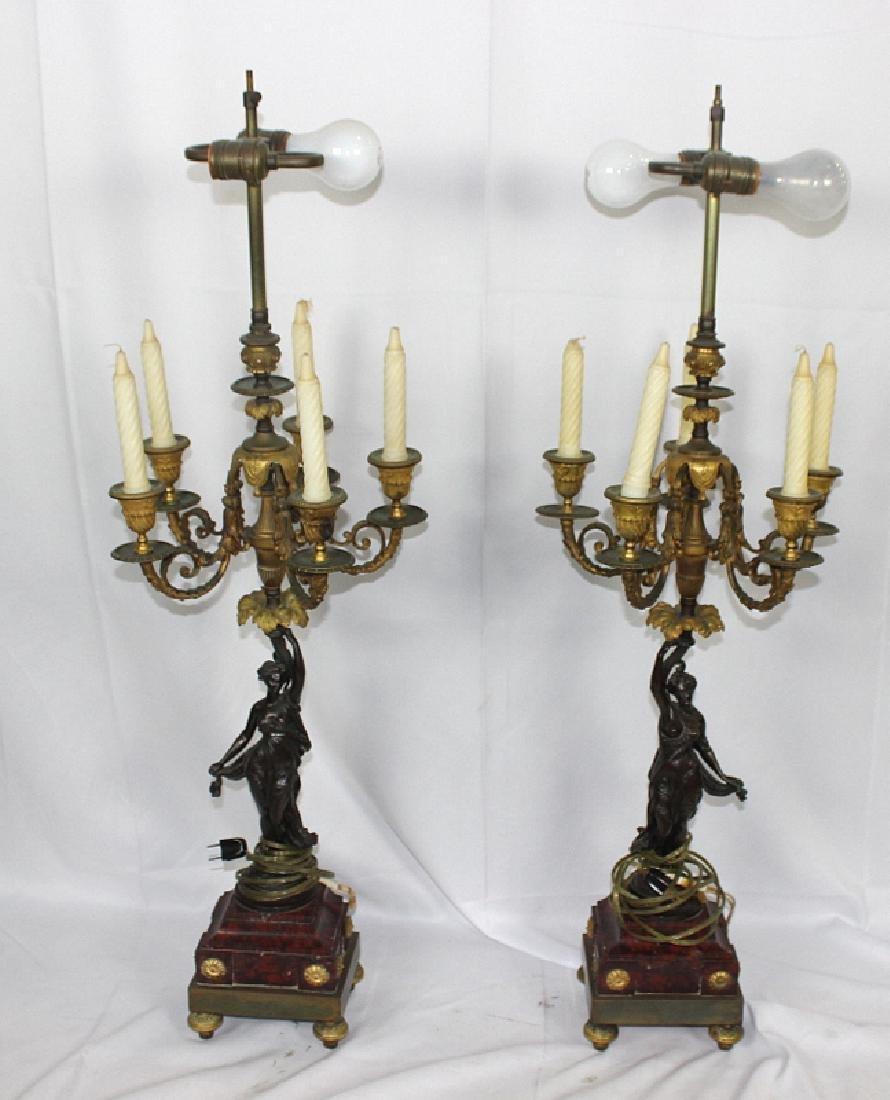 Pair of Antique Mounted Bronze & Dore Bronze Candelabra