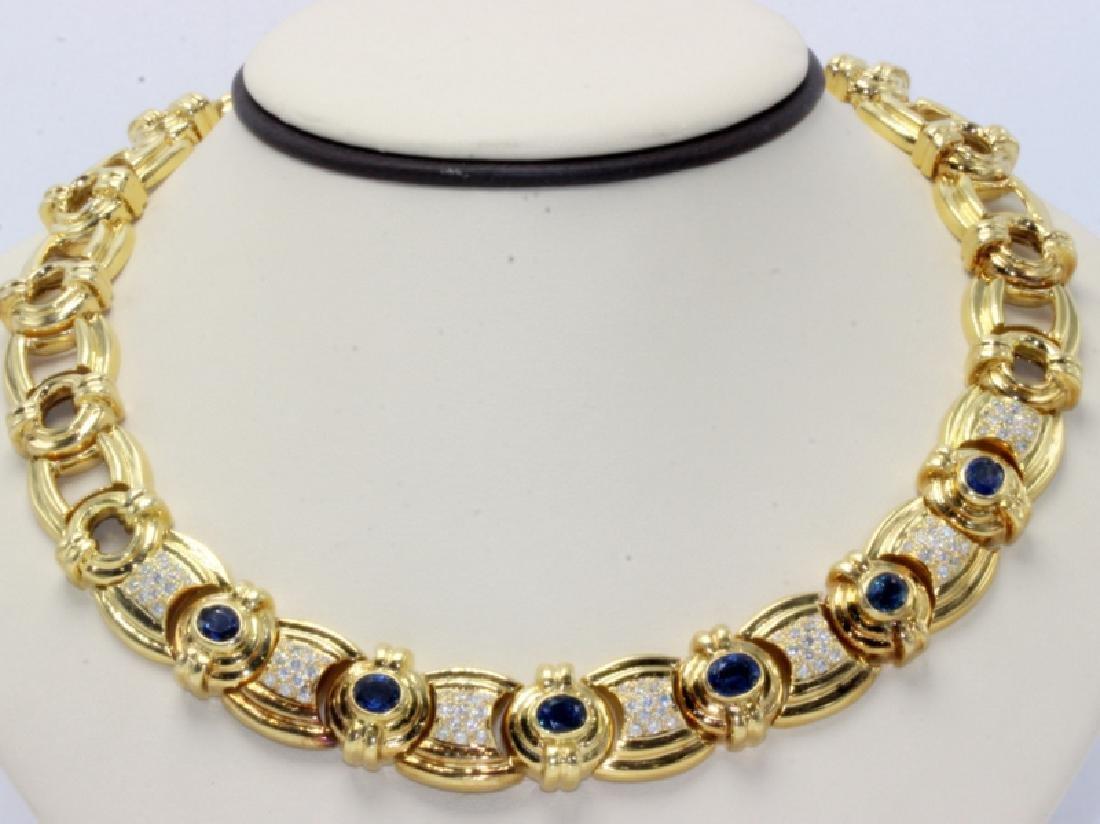 18Kt YG 2.25ct. Diamond & Sapphire Necklace