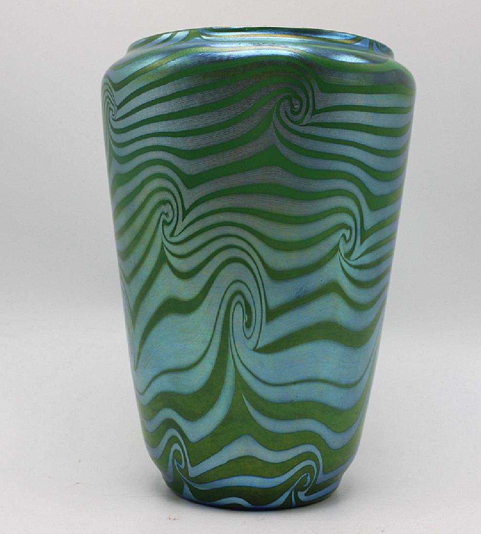 "Durand ""King Tut Coil"" Iridescent Art Glass Vase"