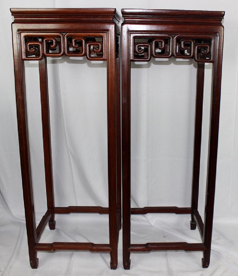 Pair of Chinese Hardwood Pedestals