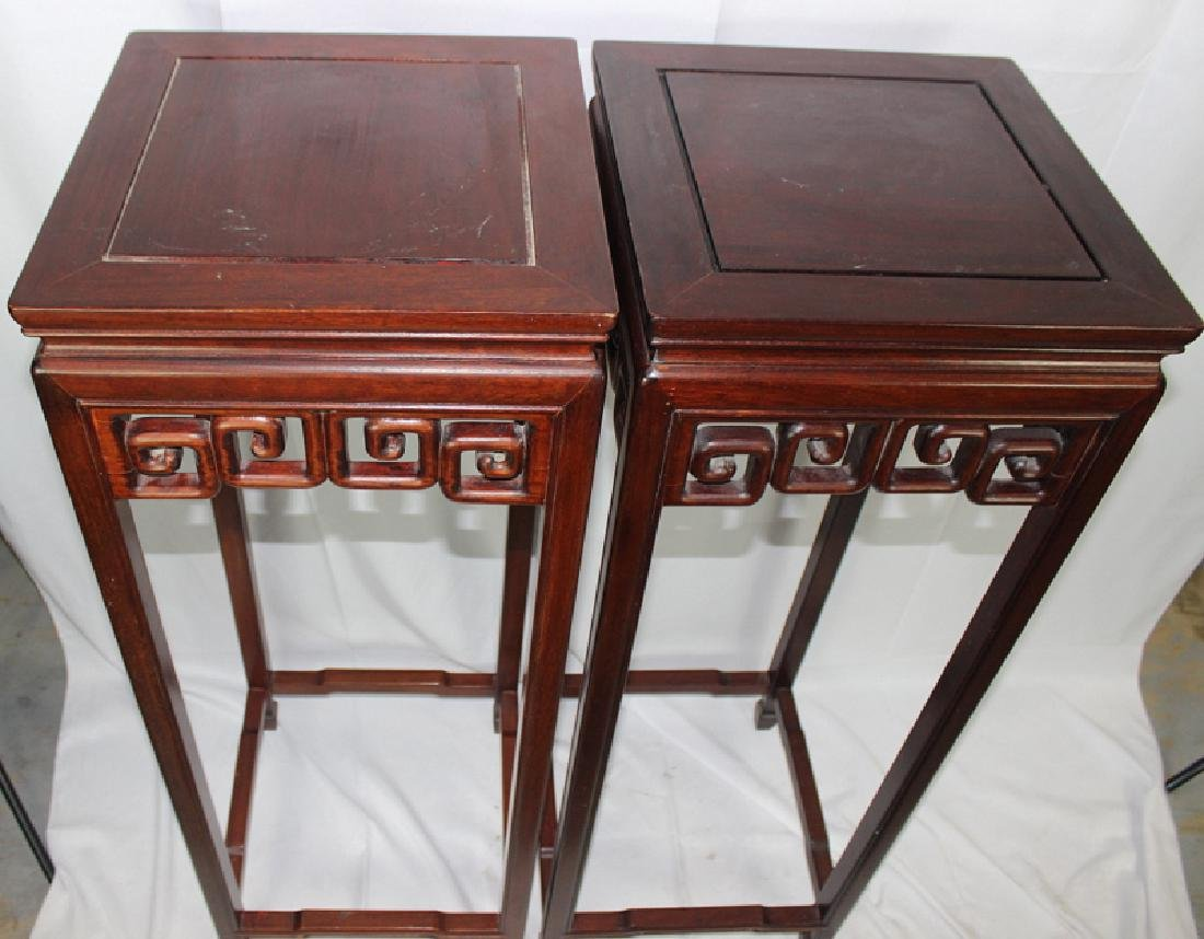 Pair of Chinese Hardwood Pedestals - 2