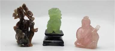 3 Chinese Carvings of Rose Quartz Brown Quartz