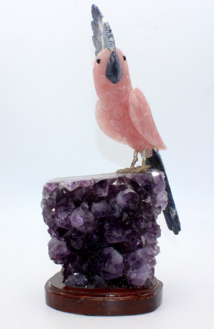 Amethyst Geode with Rose Quartz Cockatoo