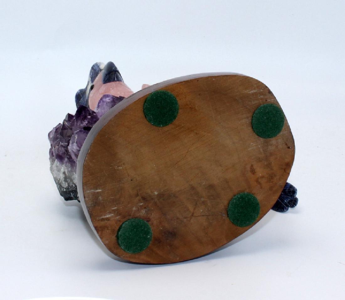 Amethyst Geode with Rose Quartz Cockatoo - 5