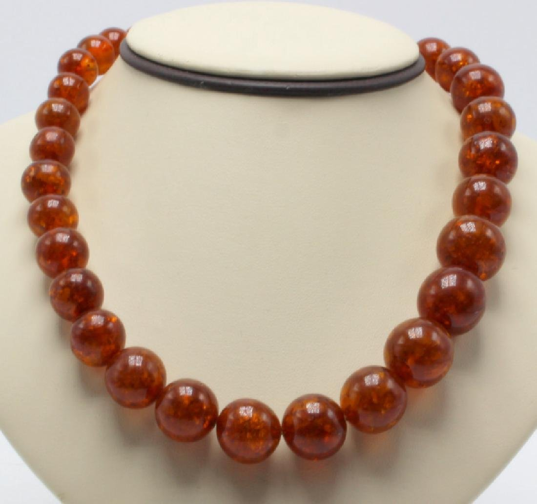 Russian Amber Beaded Necklace