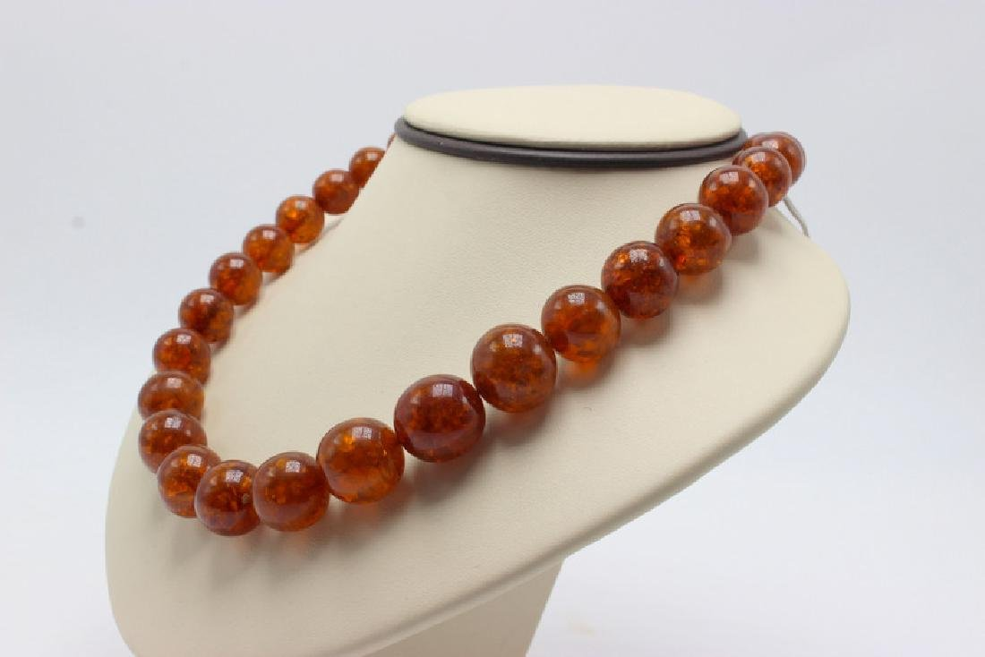 Russian Amber Beaded Necklace - 2