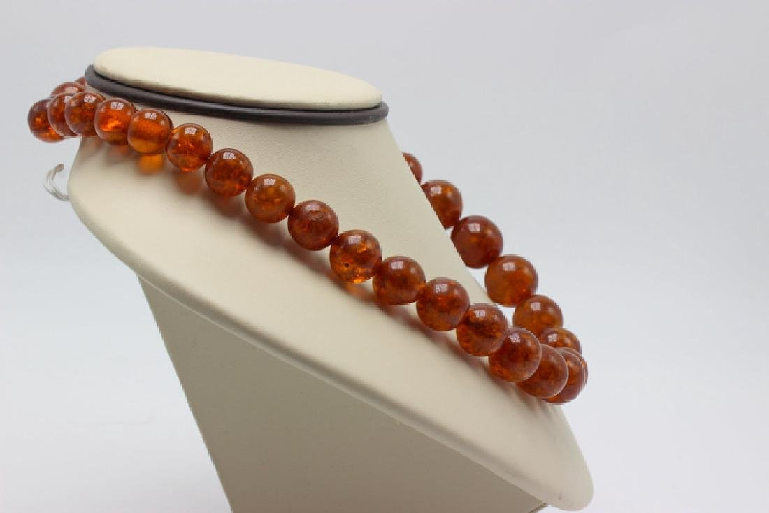 Russian Amber Beaded Necklace - 3