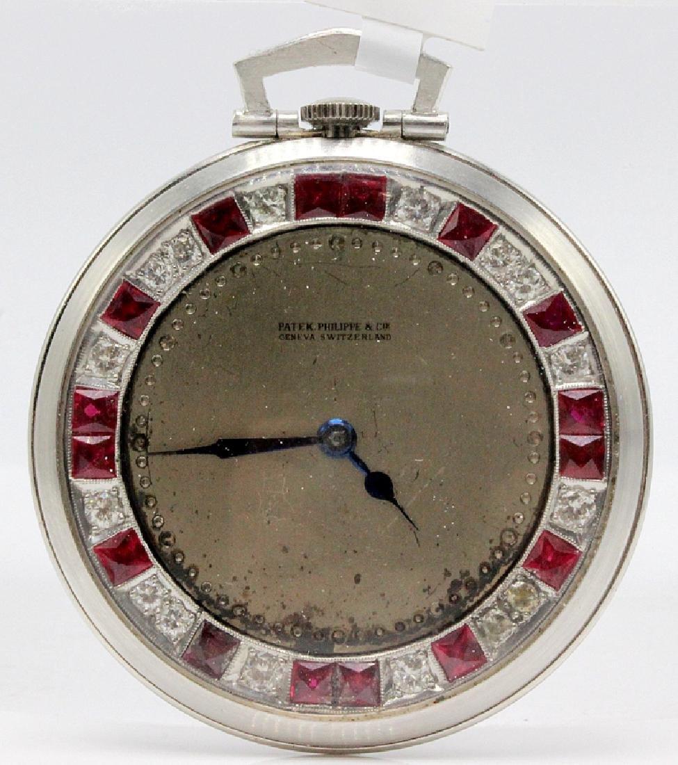 Platinum Patek Philippe Open Face Pocket Watch Mounted