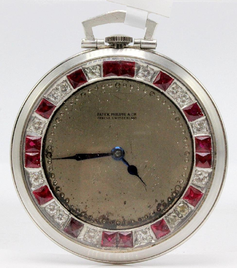Platinum Patek Philippe Open Face Pocket Watch Mounted