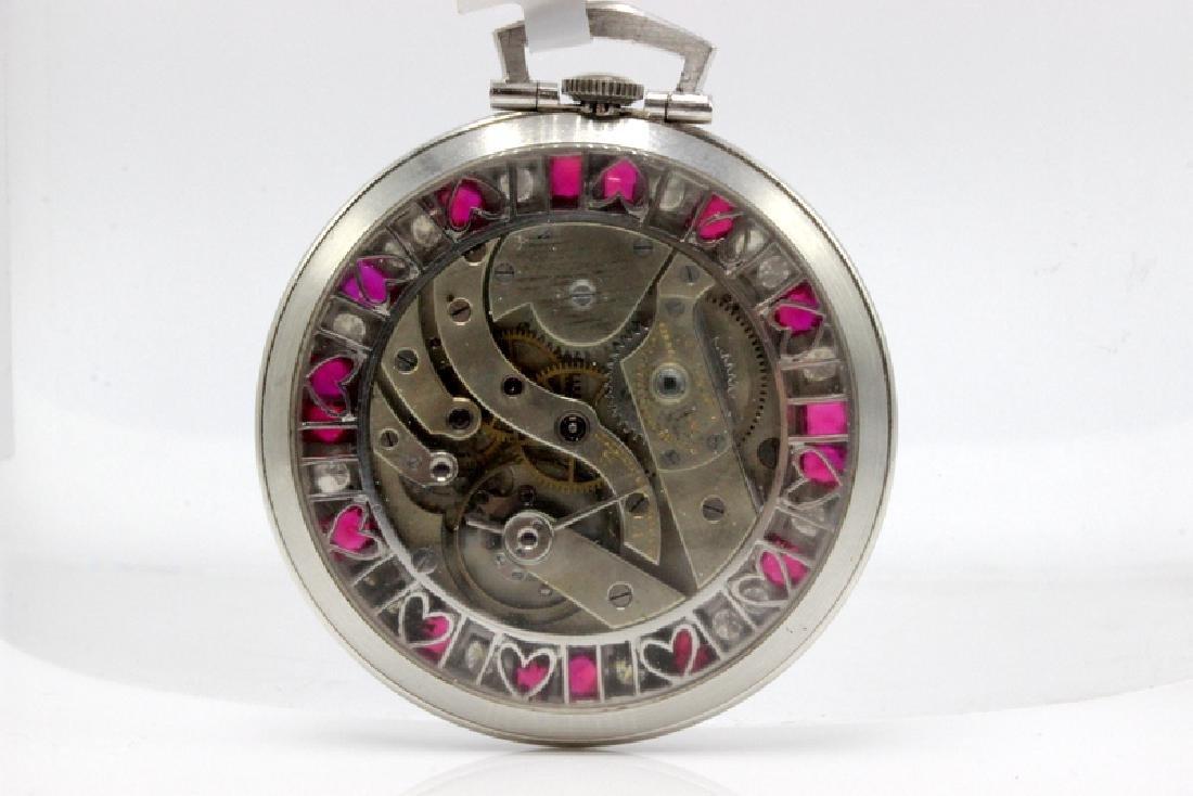 Platinum Patek Philippe Open Face Pocket Watch Mounted - 2