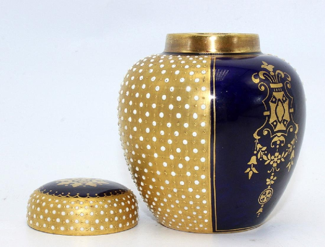 Coalport Porcelain Cobalt Blue & Gold Jeweled Tea - 3