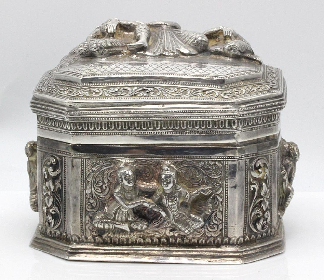 Thai Silver Box & Cover Embossed with Figures