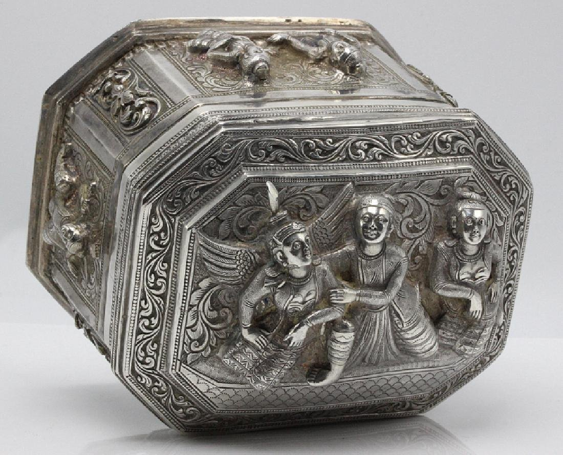 Thai Silver Box & Cover Embossed with Figures - 2