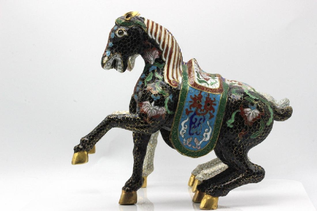 Pair of Chinese Cloisonné Horses - 3