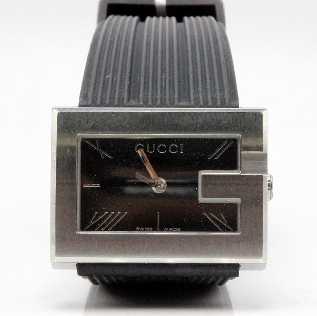 Gucci Stainless Steel Case Black Dial Rubber Strap