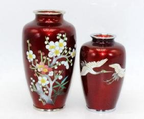 2 Cloisonne Japanese Style Vases Decorated with