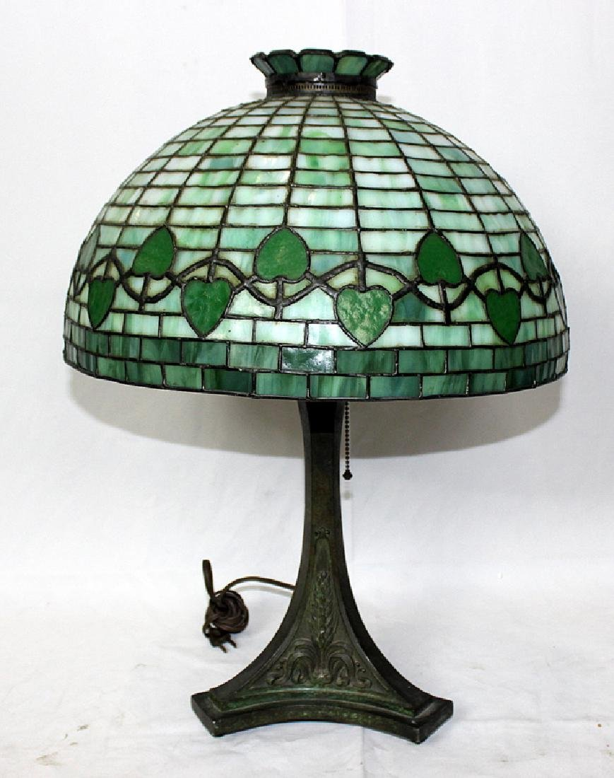 Pairpoint Antique Bronze Lamp with Leaded Glass Shade