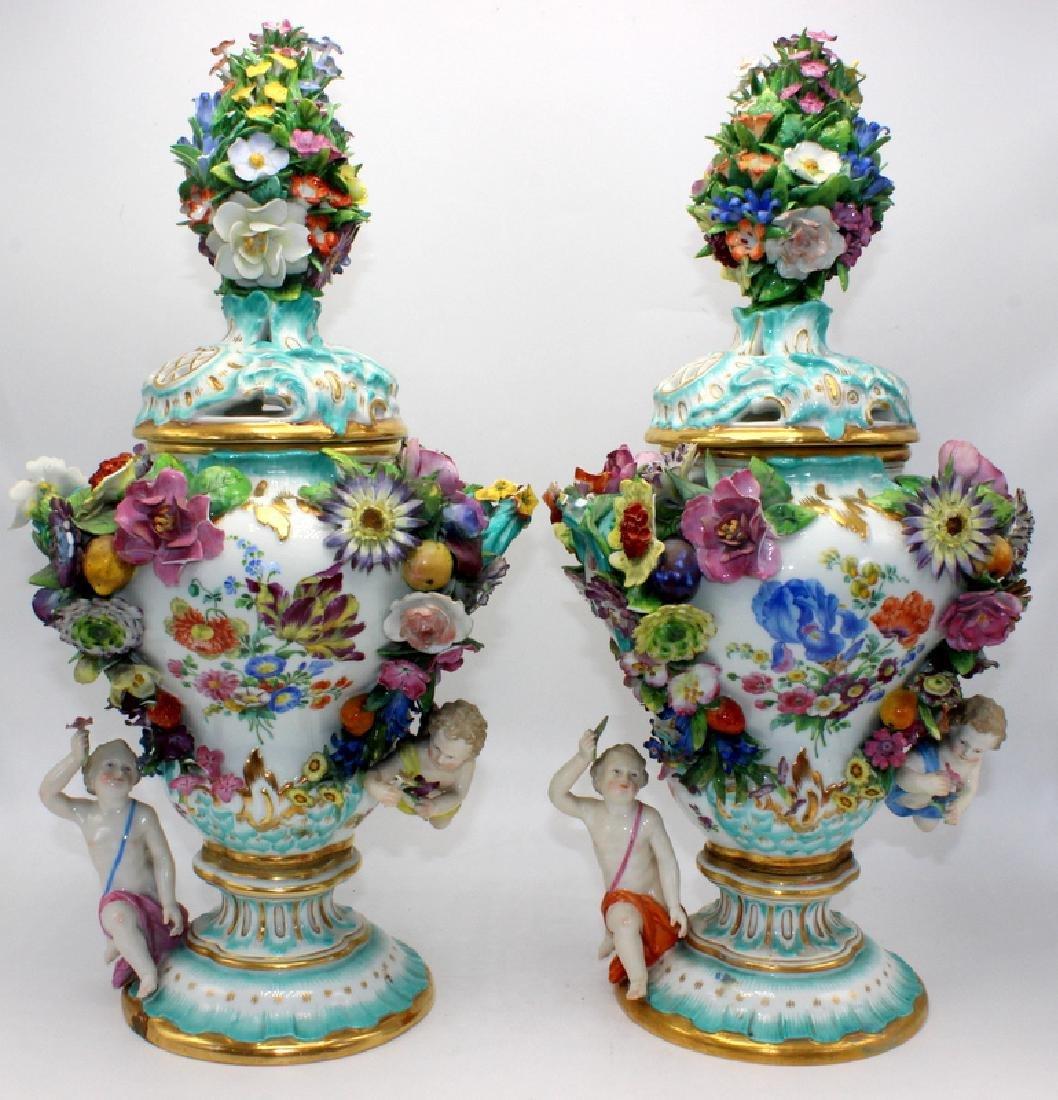 Pair of Antique Meissen Porcelain Flower Encrusted Pot